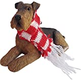 Airedale Terrier with with Red and White Scarf Christmas Ornament