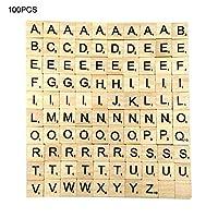 木製アルファベット、英語木製文字、26英語アルファベットチップ、幼児教育用の木製スクラブルタイルブラックパインスクエア100パック