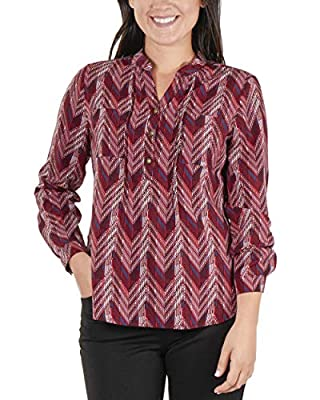 NY Collection Women's Petite Striped Roll Tab High-Low Top