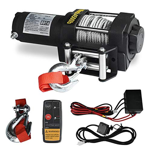 Electric Winch, 12V 4500lbs Single Line Waterproof Towing Winch for ATV UTV, with Roller Fairlead, Mount Plate and Wireless Handheld Remote