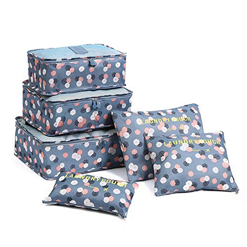 MTON 6Pcs/set Travel Organizer Storage Bags Portable Luggage Organizer Clothes Tidy Pouch Suitcase Packing Laundry Bag Case(blue)