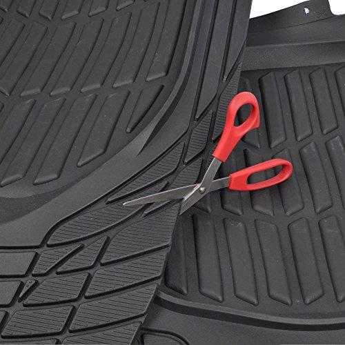 Motor Trend MT-923-BK Black FlexTough Contour Liners-Deep Dish Heavy Duty Rubber Floor Mats for Car SUV Truck