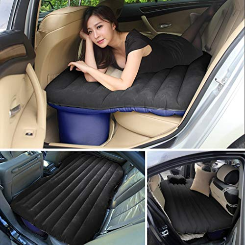 Heavy Duty Multi-functional Car SUV Inflatable Air Mattress Bed Back Seat Cushion With 2 Pillows and Pump For Travel Camping Beach Rest Tour Trip Park Lawn Picnic (Black)