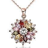 Yazilind Bijoux Brillant Mode Couleur Zirconium Fleur Forme Rose Or Pendentif...