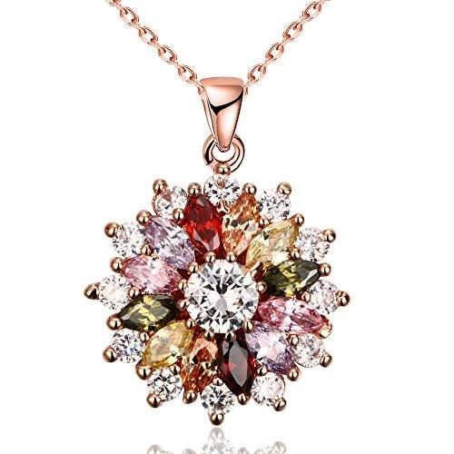 Yazilind Schmucksachen glänzende Art und Weise Farbenzirconia-Blumenform rosafarbenes Gold überzogene hängende Halskette für Frauenmädchen