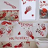 80Pcs Halloween Party Decorations Bloody Handprint Footprint Floor Clings Window Decals Restroom Sign Zombie Vampire Party Stickers Supplies Decorations,8 Sheets