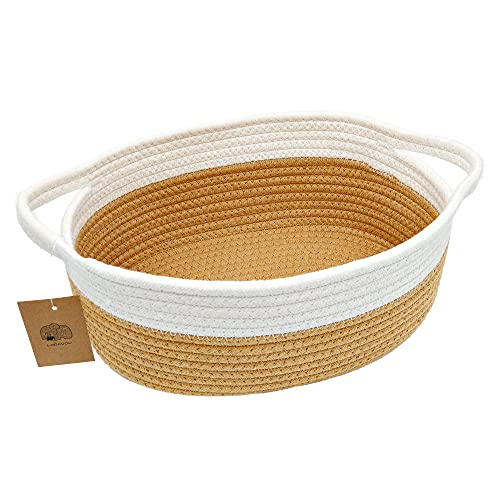 """Small Basket Small Woven Basket Cute Cotton Rope Basket Toy Room Storage Basket cat and Dog Toys Basket Handle Basket 12""""x 8"""" x 5"""" Oval Double-Piece Fashion Light Color Design, Orange"""