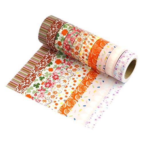LATH.PIN Decorativo Adesivi per Scrapbooking Washi Tape Adesivi Decorativi per Regalo Masking Hobby Creativi Tape 10 Set