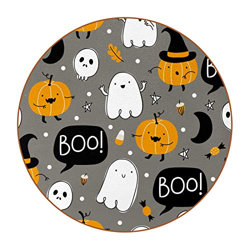 Coasters for Drinks Ghost Pumpkin Halloween Designed Drink Coasters, (4.3 Inch, Round), Super Heat-Resistant Double-sided non-slip Coasters for Drinks, Great Housewarming Gift Set of 6