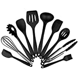 SHUHAO Silicona Utensilio para cocinar Juego de Herramientas 10Pcs de Cocina Utensilios de Cocina, Antiadherente de Cuchara de Aceite Cepillo Resistente al Calor de vajilla, Negro
