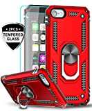 LeYi iPod Touch 7 Case, iPod Touch 6 Case, iPod Touch 5 Case with Tempered Glass Screen Protector [2 Pack], Military Grade Phone Case with Car Mount Kickstand for Apple iPod Touch 7th/6th/5th Gen Red