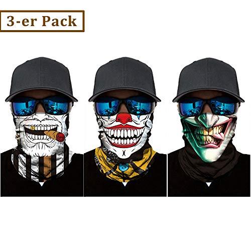 Nigaee Multifunktionstuch elastisches Halstuch nahtlos Kopftuch Schal Gesichtsschutz für Motorrad Fahrrad Bergsteigen UV Widerstand 3 Stücke (Typ_G)