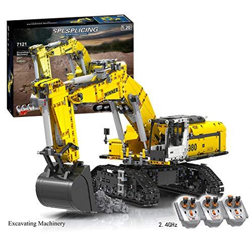 Searchyou Technik Bagger Bausteine Modell mit 6 Motor, 2071 Teile 1/20 MOC Fernbedienung Crawler Bagger Raupenbagger Konstruktion Bauspielzeug Kompatibel mit Lego