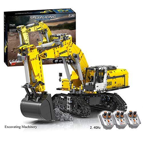 Morton3654Mam Excavadora para orugas modelo de bloques de construcción, 2071 piezas 2,4 G control remoto excavadora de orugas camión construcción con 6 motores construcción juguete compatible con Lego