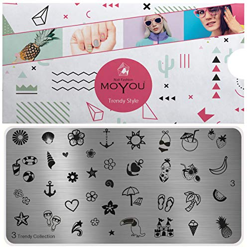 Plaques de stamping XL MoYou tendance, collection 3, les meilleurs motifs été