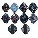 Lot de 10 protège-slips lavables en charbon de bambou réutilisables 20,3 cm