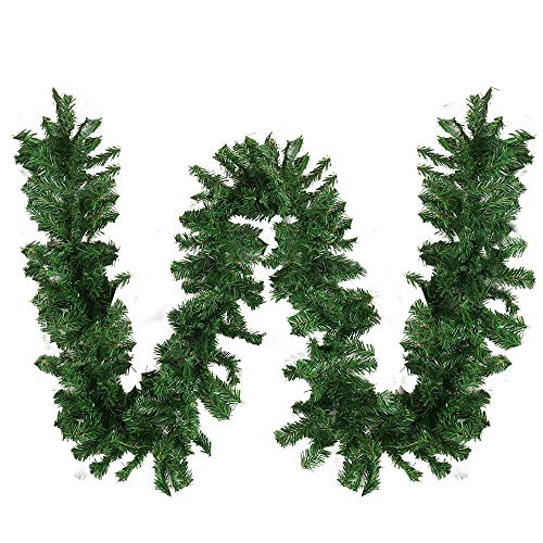 XIAO WEI 8.9Ft 270CM Christmas Green Garland Decoration Artificial Pine Soft Christmas Garlands for Christmas Home Garden Holiday Wedding Party Stair Fireplaces (2 Pieces Traditional Style)