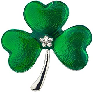 Lux Accessories Silver Tone Green St. Patrick's Day Three Leaf Clover Brooch Pin