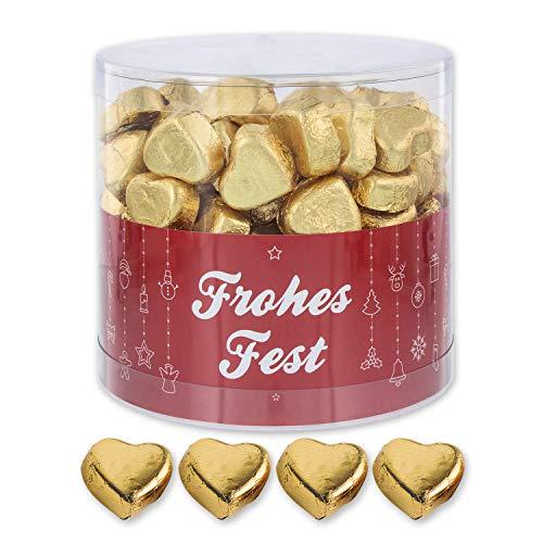 Günthart 150 Stück gold Schokoladen Herzen mit Nougatfüllung | Nougatcreme Frohes Fest | Schokoladenherzen gold Frohes Fest | Give away | goldene Herzen aus Schokolade | Weihnachten (1,2 kg)