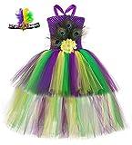 Tutu Dreams Peacock Dress Costume for Girls Kids Mardi Gras Birthday Party Role Play Festivities Masquerade (Mardi Gras, Large(5-6Y))
