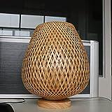 LANMOU Lámpara De Mesa Retro Linterna Rústico Con Pantalla de Bambú, Lámpara Mesita de Noche de Rattan E27 Con Base de Madera, Cable Con Interruptor, Lámpara de Mesa Decorativa para Dormitorio, Salón
