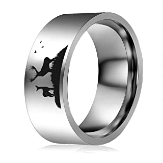 MYLYAHY 8mm Luxurious Deer Tungsten Carbide Ring for Men,Silver Black Wood Ring,Mens Engagement Wedding Bands Ring Jewelry...