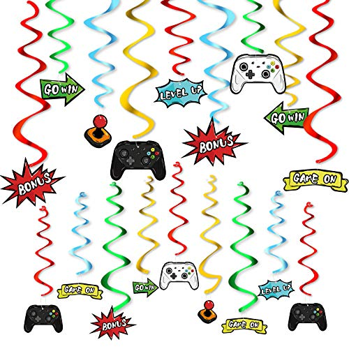 Watercolor Video Game Hanging Swirl - 28 PCS Video Game Party Decorations for Boys Kids Game Theme Birthday Party Supplies Hanging Whirls Streamer SpiralGarlands Ceiling Decor