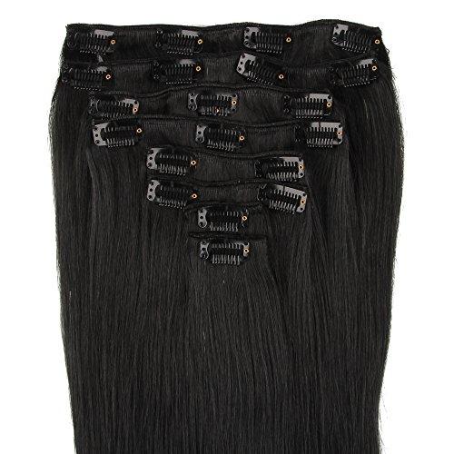 Beauty7 120g Extensions de cheveux humains à clip 100% Remy Hair 1# Couleur Noir Longueur 55 cm