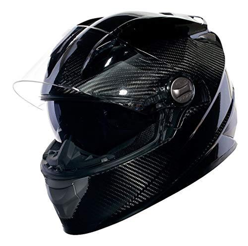 Sedici Strada Carbon Fiber Drop Down Sun Shield Visor Vented DOT Sport Bike Street Motorcycle Full Face Helmet - Black MD