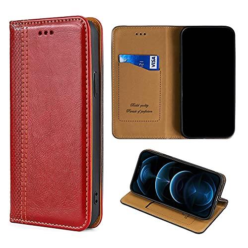 Oujietong GKGW Custodia per MEDIACOM PHONEPAD Duo G501 Custodia Flip in Pelle PU Cover [Rosso]