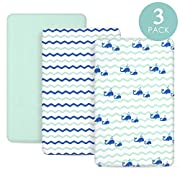 TILLYOU Jersey Knit Mini Crib Sheets, 170 GSM Thicker Softer Pack N Play Sheets Set Unisex, Ultra-Soft Breathable Playard Playpen Sheets, Ocean Theme