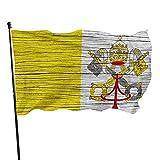 Bandera Personalizada Textura De Madera del Vaticano Vaticano Bandera Piratas Exteriores Bandera del Patio Resistente A La Intemperie Bandera De Terraza para Terrazza Balcón Exterior Jardin Casa