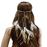 Girl Decorating Headwear Mori Accesorios for el cabello Peacock Feathing Ladies Deeingband Hippie Hecho a mano Tocado tribal Feather Tassel Headband ( Color : Multi-colored , Size : One size )
