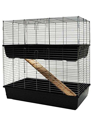 """MYPETS® """"TowerCage"""" Hamsterkäfig zweistöckig für Kleintiere – Großer, pulverbeschichteter Nagerkäfig mit Holzrampe & Futterraufen – 100x52x100 cm"""