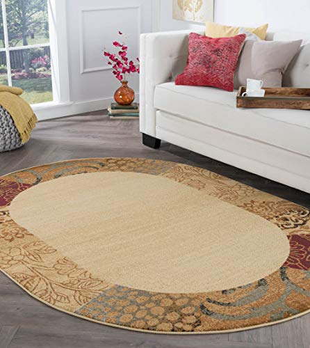 Tayse Beige 7x10 Oval Area Rug for Living, Bedroom, or Dining Room - Transitional, Floral