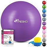TRESKO® Palla da Ginnastica a Prova di Strappo | Palla da Seduta | Palla da Yoga | con Pompa | 300 kg | Porpora | 55cm