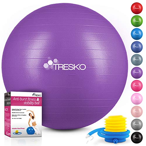 TRESKO® Anti-Burst Gymnastikball 55cm 65cm 75cm 85cm | Sitzball | Yogaball | 300 kg | mit Luftpumpe (Lila, 55cm (geeignet für 155cm oder weniger))
