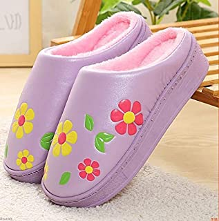 Women's Bag with Cotton Slippers Home Indoor Warm Non-Slip Thick Bottom Plush Cotton Shoes Autumn and Winter Winter Indoor Bedroom Non-Slip Slippers Plush Slip (Color : Purple, Size : 270)