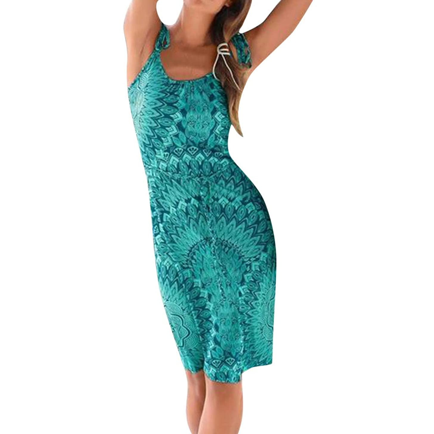 EINCcm Women Boho Floral Print Midi Dress, Slim Fit Beach Dress Casual Strap Dress Soft Summer Dress