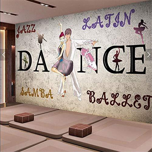 Tapetenwand Retro Nostalgic Cement Tapeten Jump Dance Klassenzimmer Yoga Raum Klavier Raumdekoration Hintergrundbild Schwarzweiß Wandbild-430×300Cm