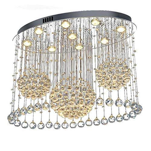 Tivivose L80 * W40 * H60CM Lámpara de araña Ovalada Iluminación Sala de Estar Foyer K9 Crystal Lustres Island LED Luz de Techo para Cocina Comedor (Emitting Color : GU10 Warm White Bulb)