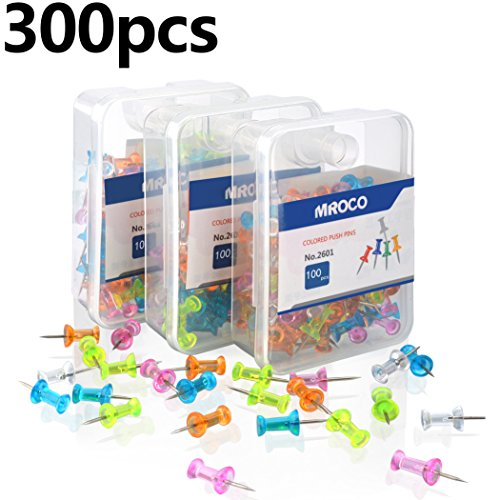 MROCO Push Pin Push Pins Color Push Pins Office Push Pin, Clear Push Pins,Thumb Tacks,Thumb Tack Decorative for Cork Board, Home, Sharp Steel Points 3/8 Inch,5 Colors 300 Pieces