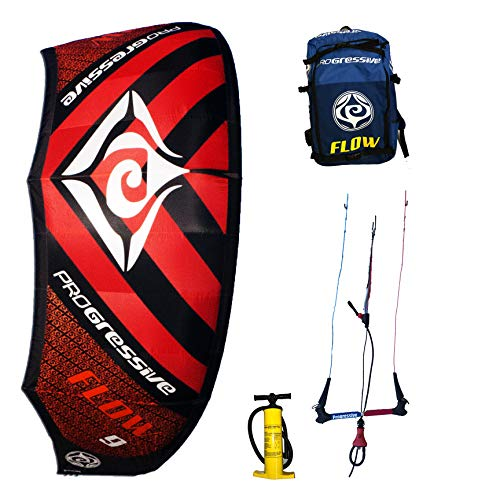 Progressive Flow Kiteboarding Kite Complete Kitesurfing Package (9m Red)