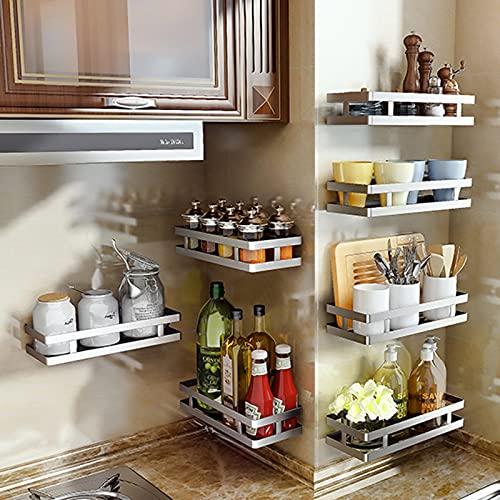 Especiero Cocina con Ganchos,Especiero Cocina Pared,Almacenamiento de Cocina y Despensa,Estanterías para Especias de Acero Inoxidable,Organizador Cocina (30cm)