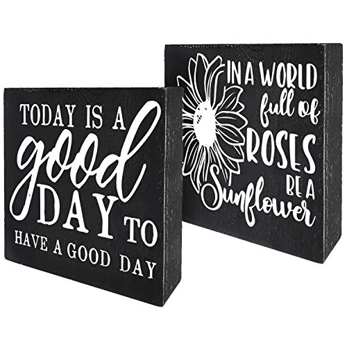 Agantree art Today is A Good Day to Have A Good Day, A World Full of Roses Be A Sunflower, Inspirational Box Talk Sign Wood Block Plaque Decor