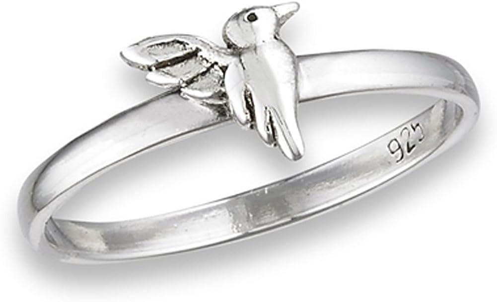 High Polish Hummingbird Cute Bird Reservation Ring Silver .925 Sterling New 100% quality warranty!