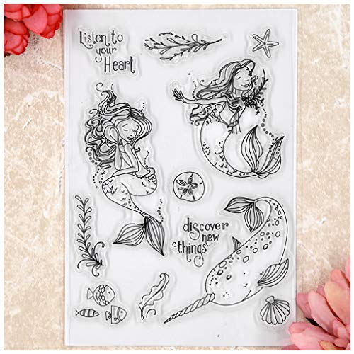 Kwan Crafts Mermaid Ocean Clear Stamps for Card Making Decoration and DIY Scrapbooking