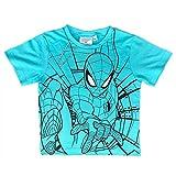 Marvel Camiseta de Spiderman de algodón estampado para niño, de 3 a 8 años, 1830 azul turquesa 3 años