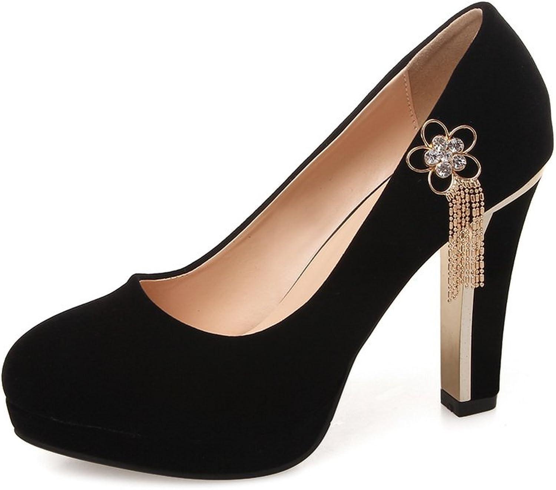 AdeeSu Womens Chunky Heels Platform Low-Cut Uppers Suede Pumps Pumps