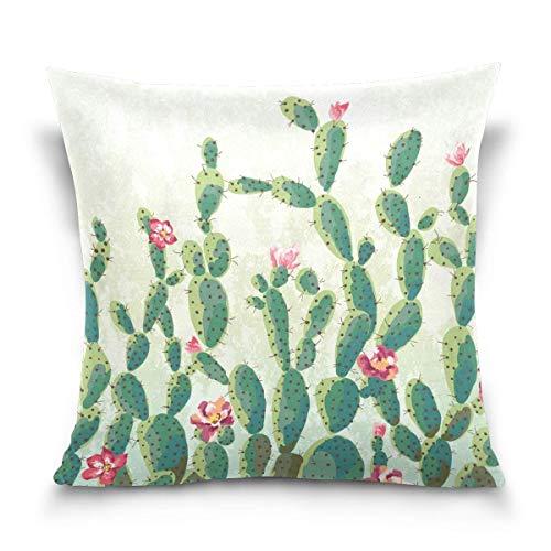 Asekngvo Funda de Almohada de Tiro de 18x18 Pulgadas, Fundas de Almohada Decorativas de Flores de Cactus Vintage, Funda de cojín para sofá Cama,